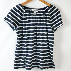 Sag Harbor Womens Short Sleeve Striped Peasant Top